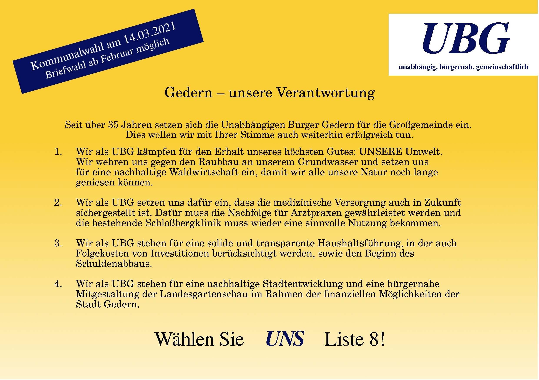 Anzeige 2 UBG 2021