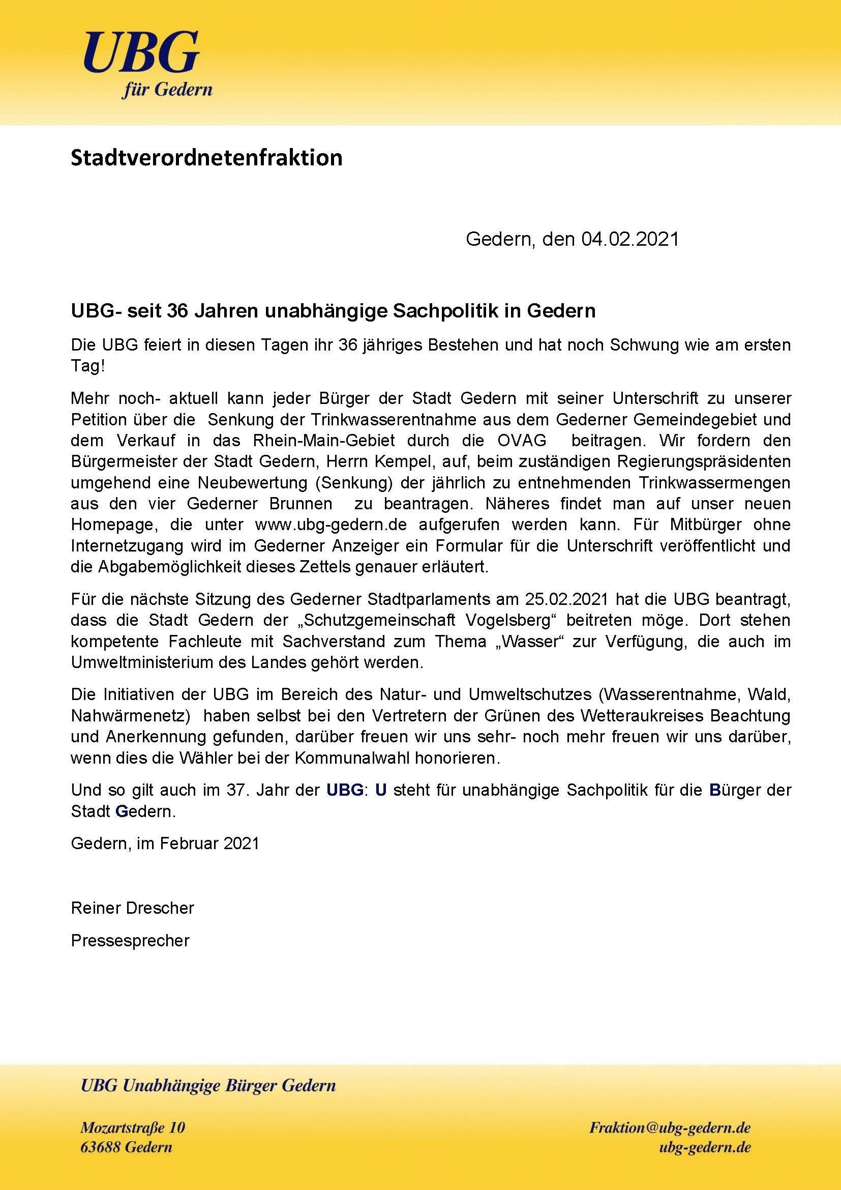 UBG 36 Geb 2021