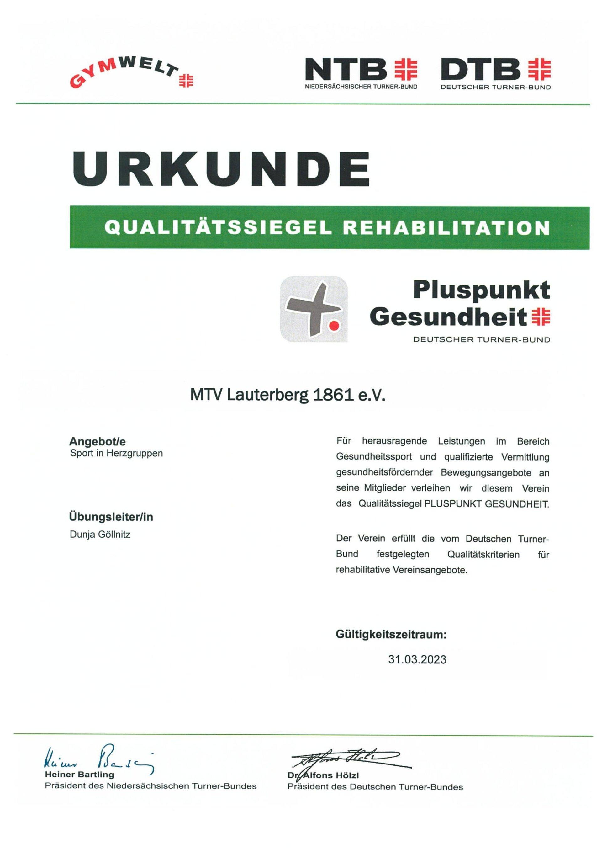 Urkunde MTV Lauterberg