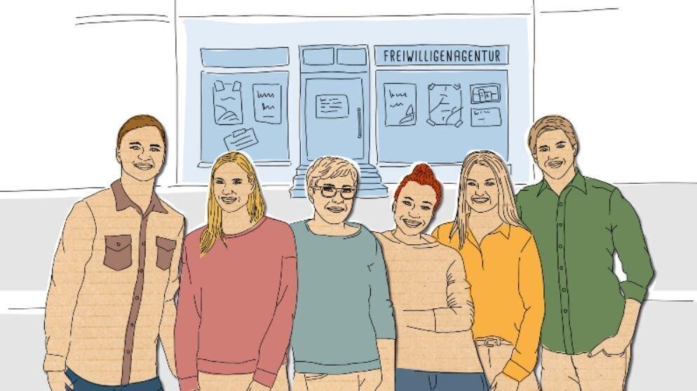 Bild zeigt sechs Personen vor einer Freiwilligenagentur; bagfa