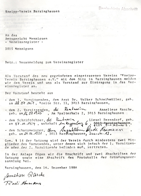 Vorstandsanmeldung 1986