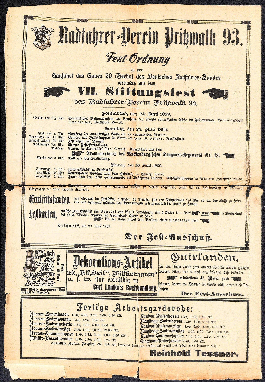 """Anzeige für das jährliche Stiftungsfest des Radfahrer-Vereins """"Pritzwalk 93"""". Quelle: Museum"""