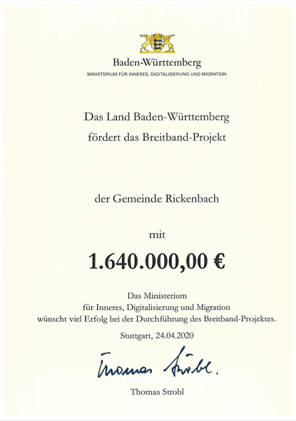Urkunde Förderung Breitband Gemeinde Rickenbach