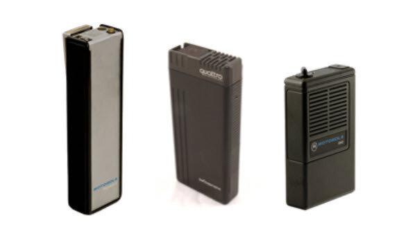 Funkmeldeempfänger analoge Technik (bis ca. 2010 üblich) – Fotos: Motorola, Swissphone