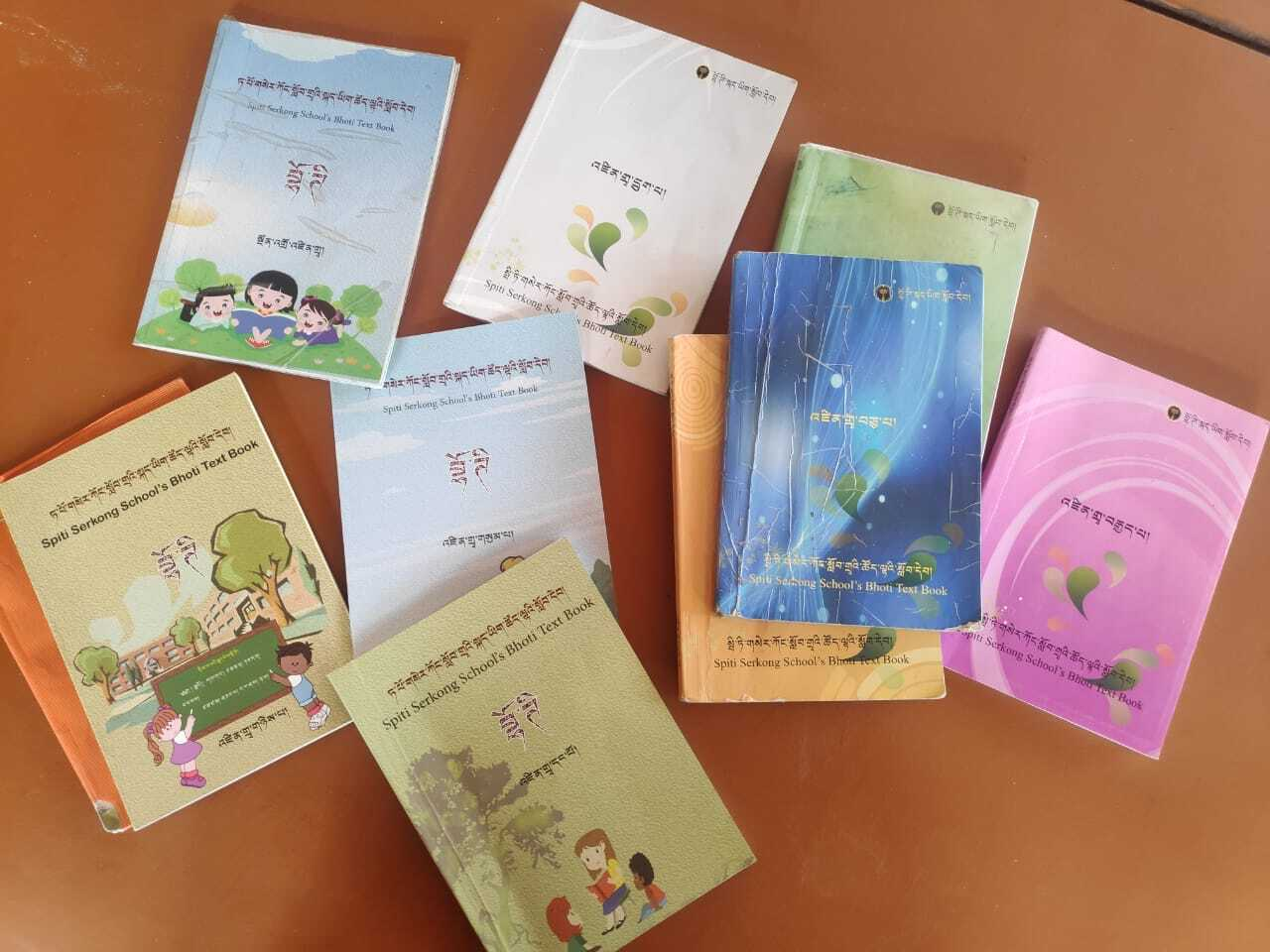 Serkong School's Bhoti language books - Photo by Venerable Padma Chottar