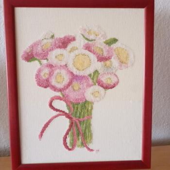 gestickter Blumengruß