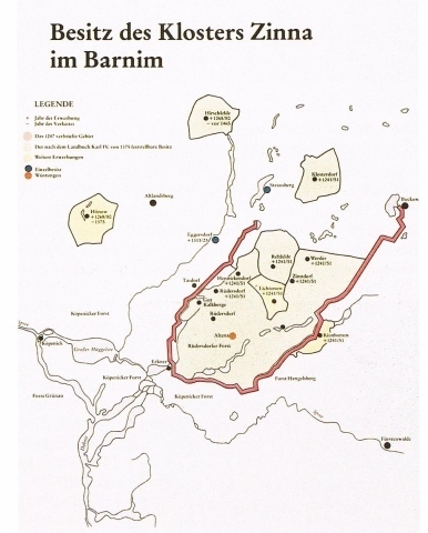 Besitz des KLoster Zinna auf dem Barnim
