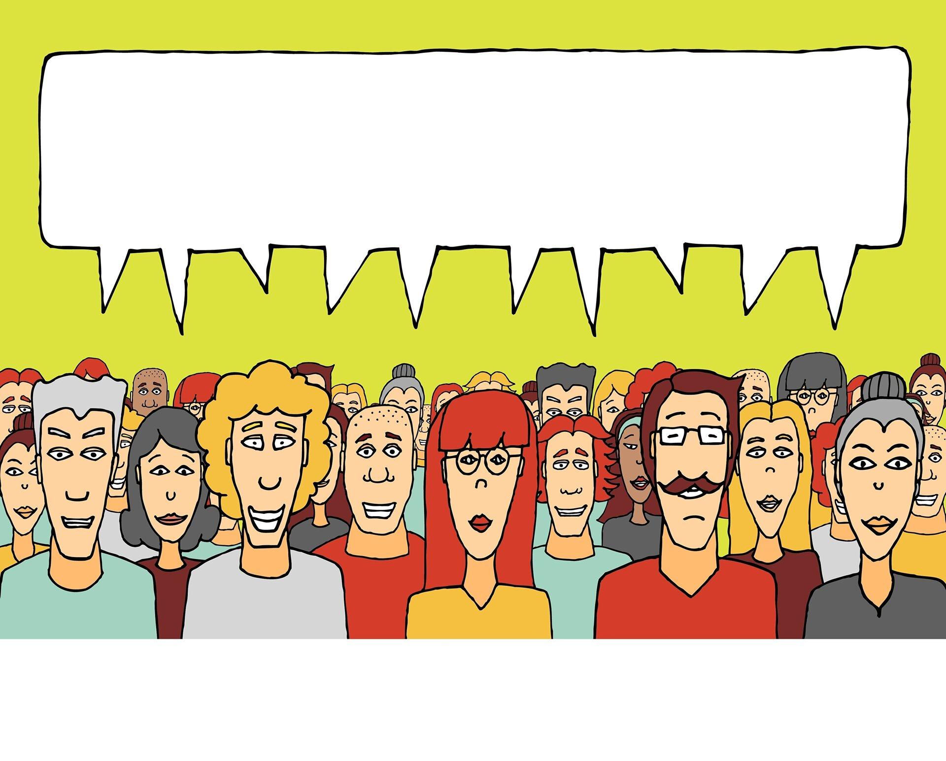 Comic-Männchen mit großer Sprechblase