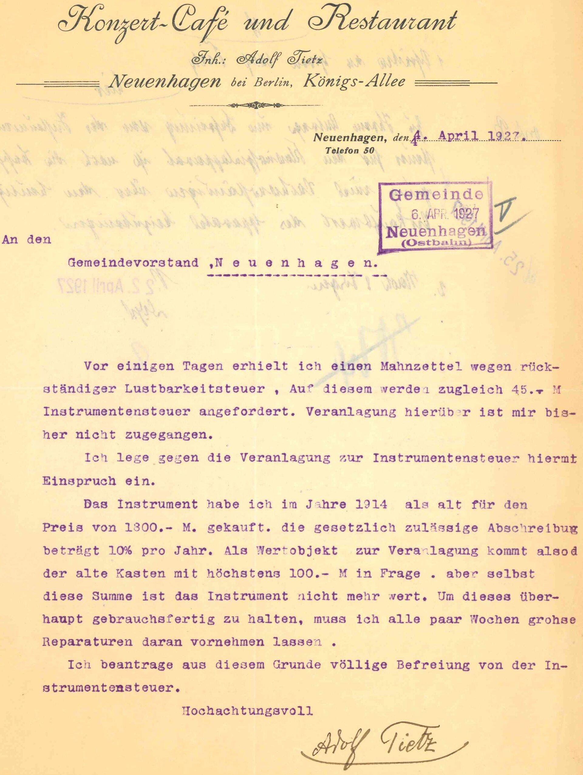 Quelle: Gemeinde-Archiv