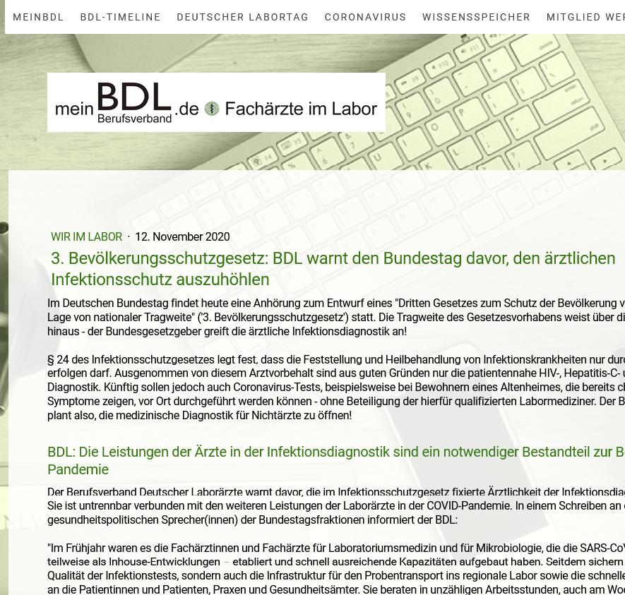 Link: BDL warnt vor Änderung des § 24 Infektionsschutzgesetz