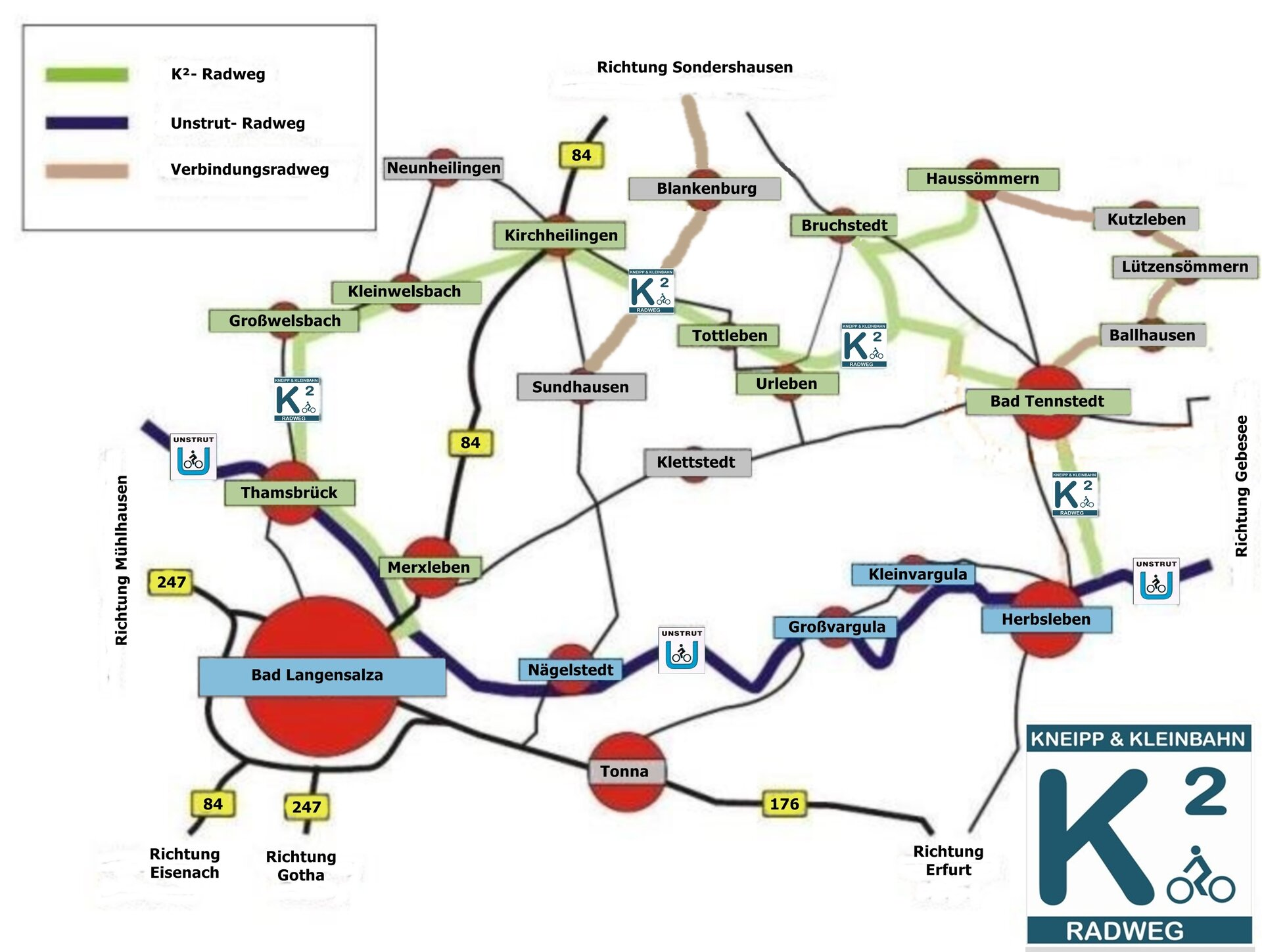 Karte K2 Radweg