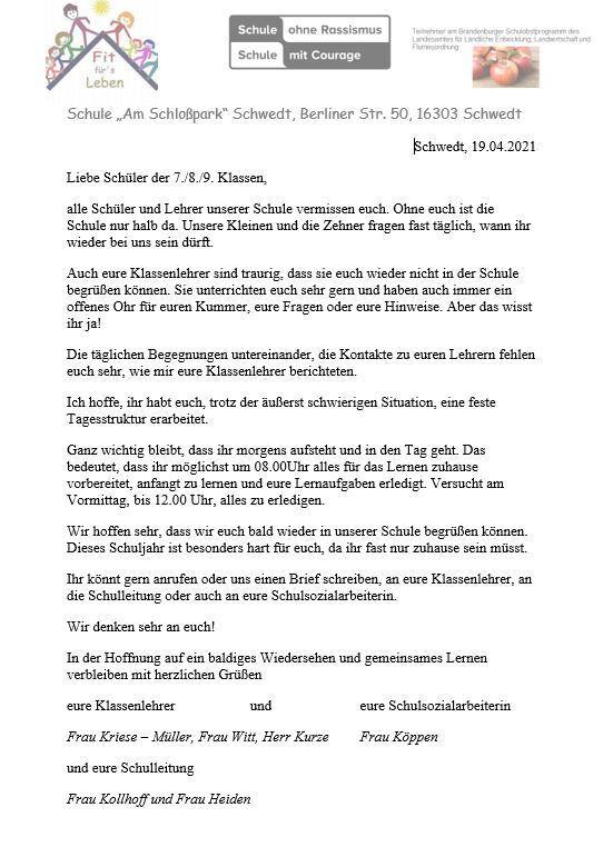 Brief an die Schüler