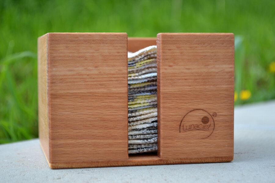 Holzbox, Box aus Holz zur Aufbewahrung von Abschminkpads