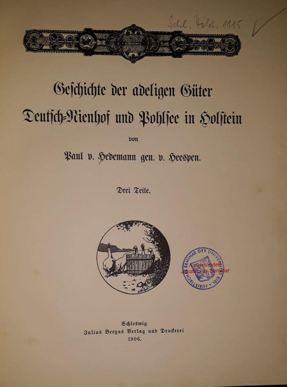 Geschichte der adeligen Güter Deutsch-Nienhof und Pohlsee in Holstein