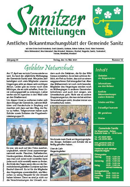 Sanitzer Mitteilungen März 2021