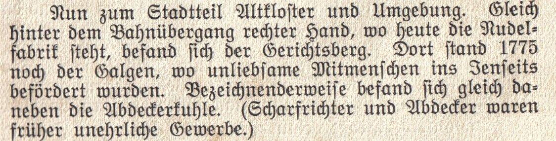 Altkoster aus einem Buxtehuder Heimatbuch von 1937