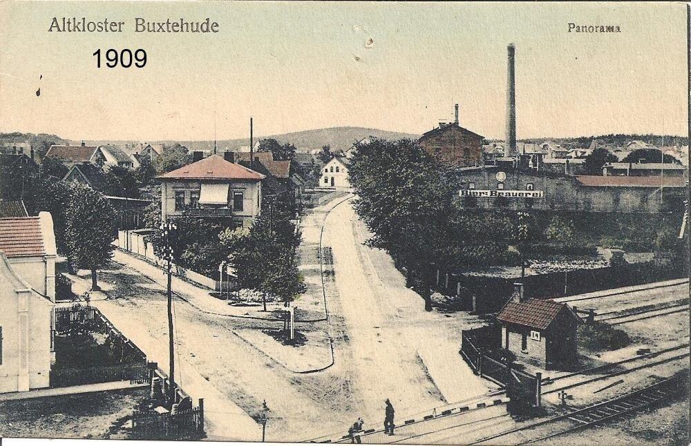 Bahnübergang Postkarte Hauptstraße / Stader Straße 1909