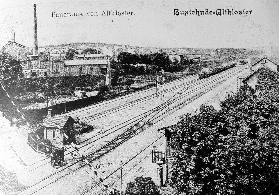 Bahnübergang Postkarte Richtung Altkloster 1909