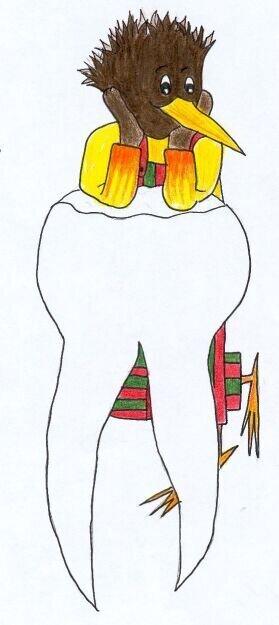 Dentilo stützt sich auf Zahn