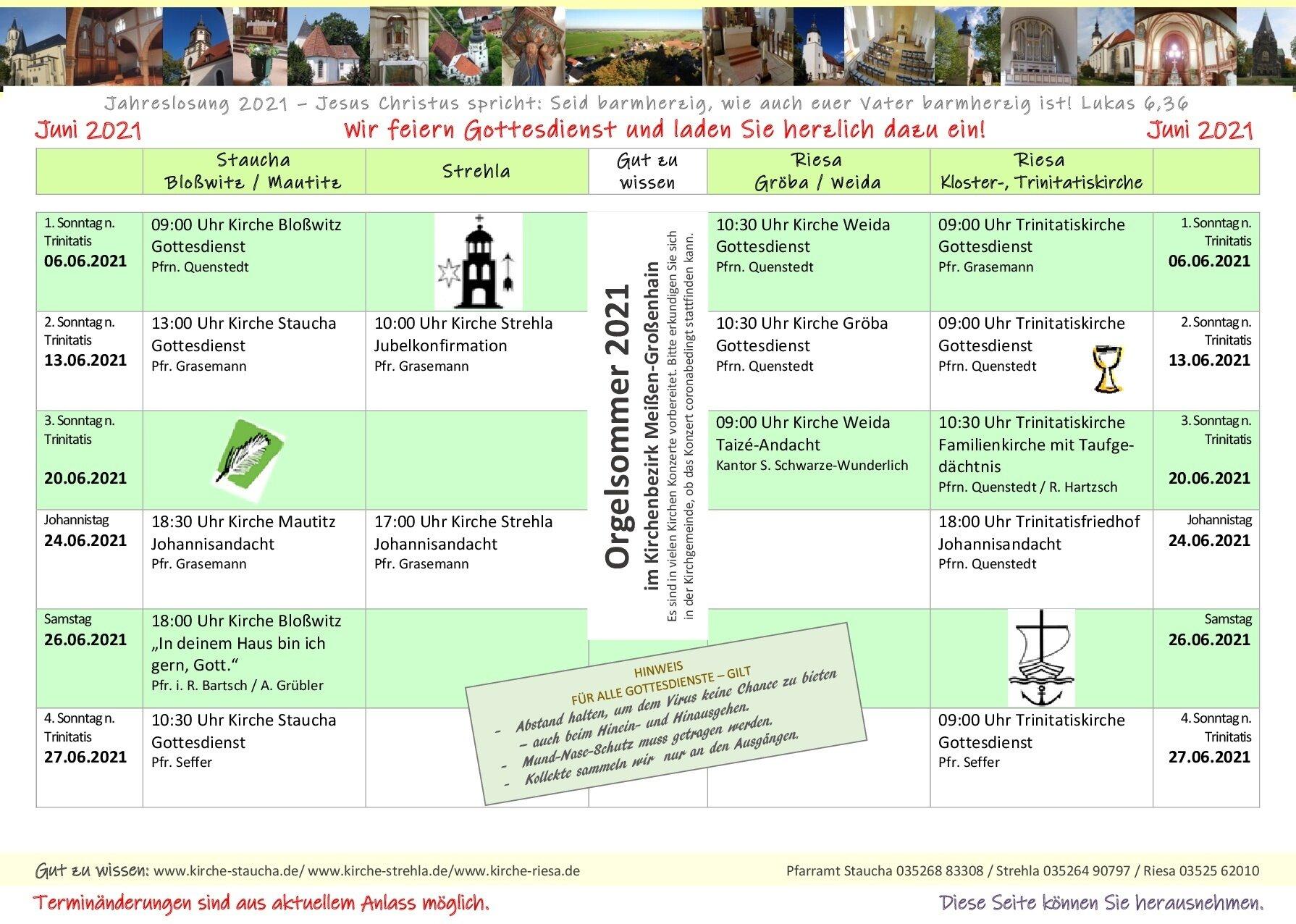 Gottesdienste Juni Juli 2021