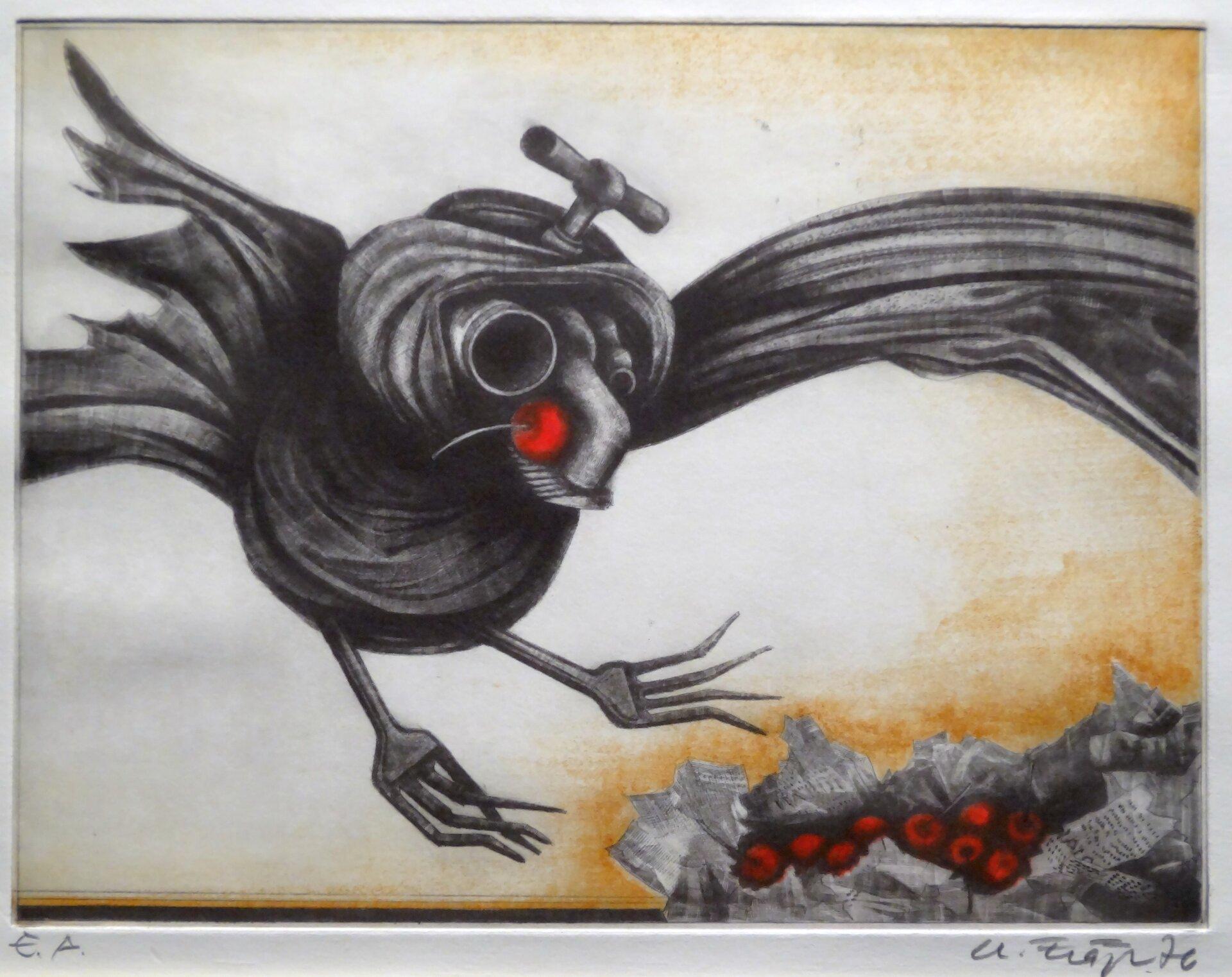Lumpenvogel mit Äpfeln