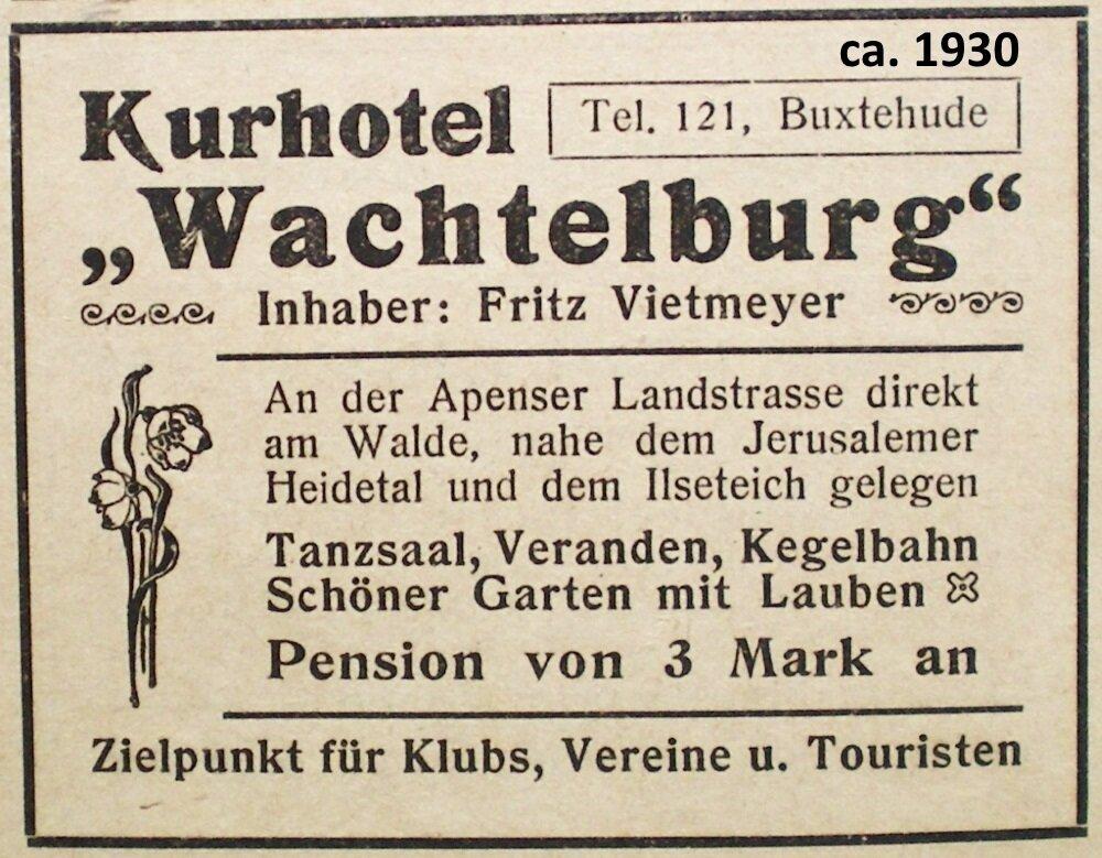 ca. 1930 Anzeige Kurhotel Wachtelburg