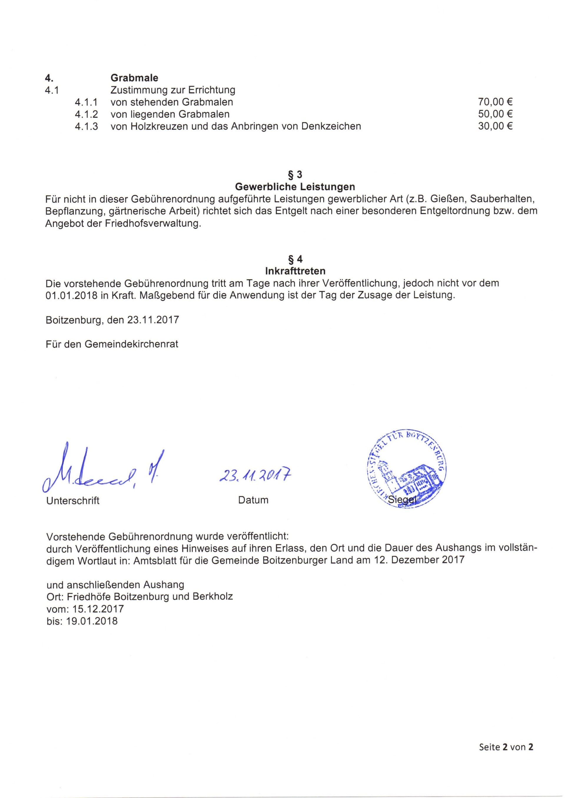 Gebührenordnung Boitzenburg 2