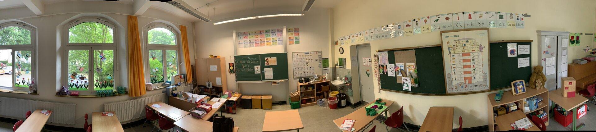 Der Klassenraum eines 1. Schuljahres von vorn