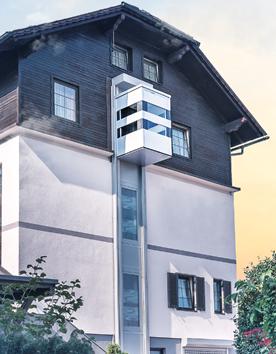 Senkrechtaufzug QuattroPorte an der Aussenfassade eines Eigenheims