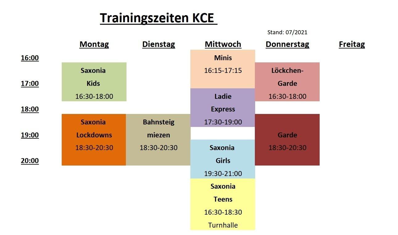 Trainingszeiten KCE