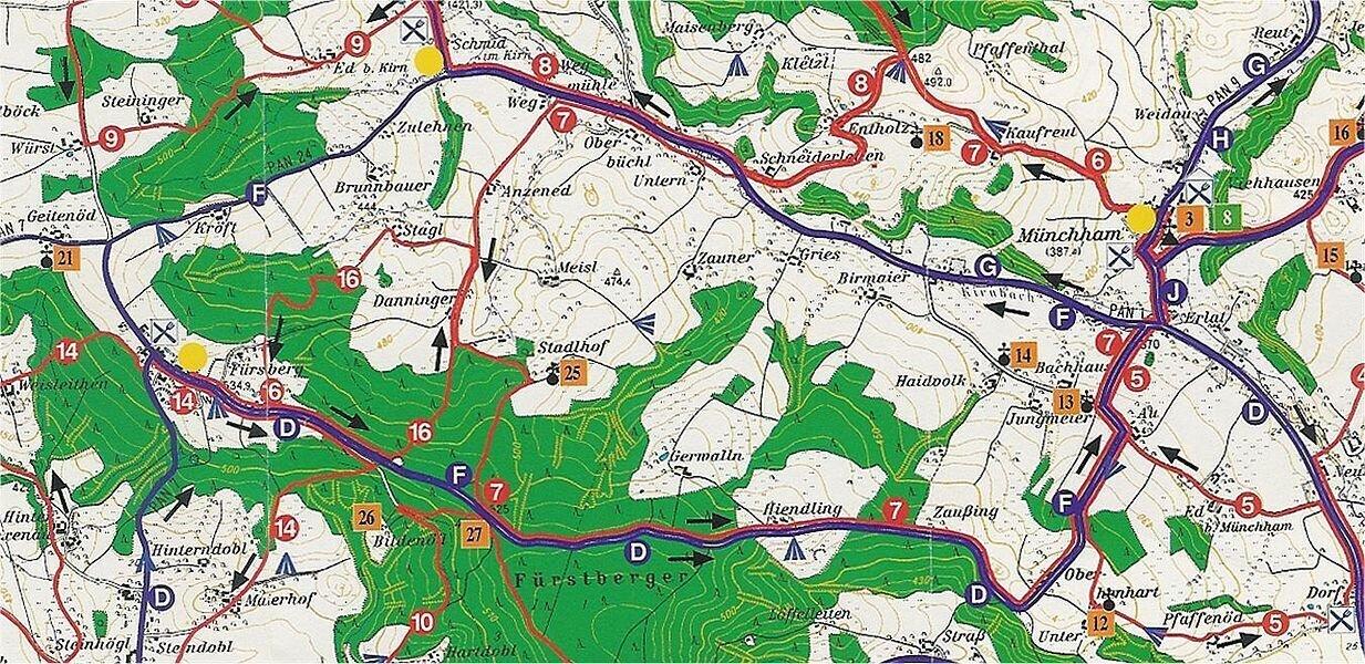 Berg- und Talfahrt zwischen Münchham und Erning - ca. 15 km
