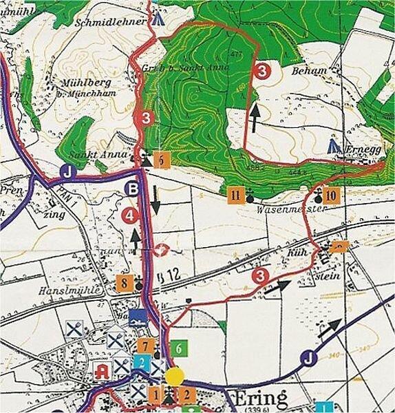 Rundwanderweg 3: Wanderweg Ering - Ernegg - St. Anna, ca. 9 km