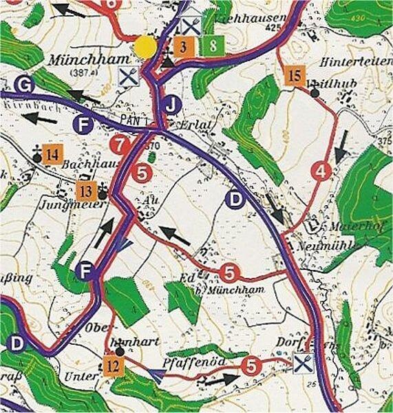 Rundwanderweg 5: Kleiner Rundweg Münchham, ca. 7 km