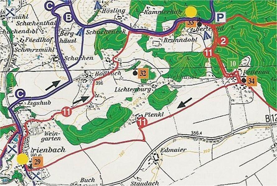 Rundwanderweg 11: Prienbach - Bertenöd - Pettenauer Rundweg, ca. 9 km