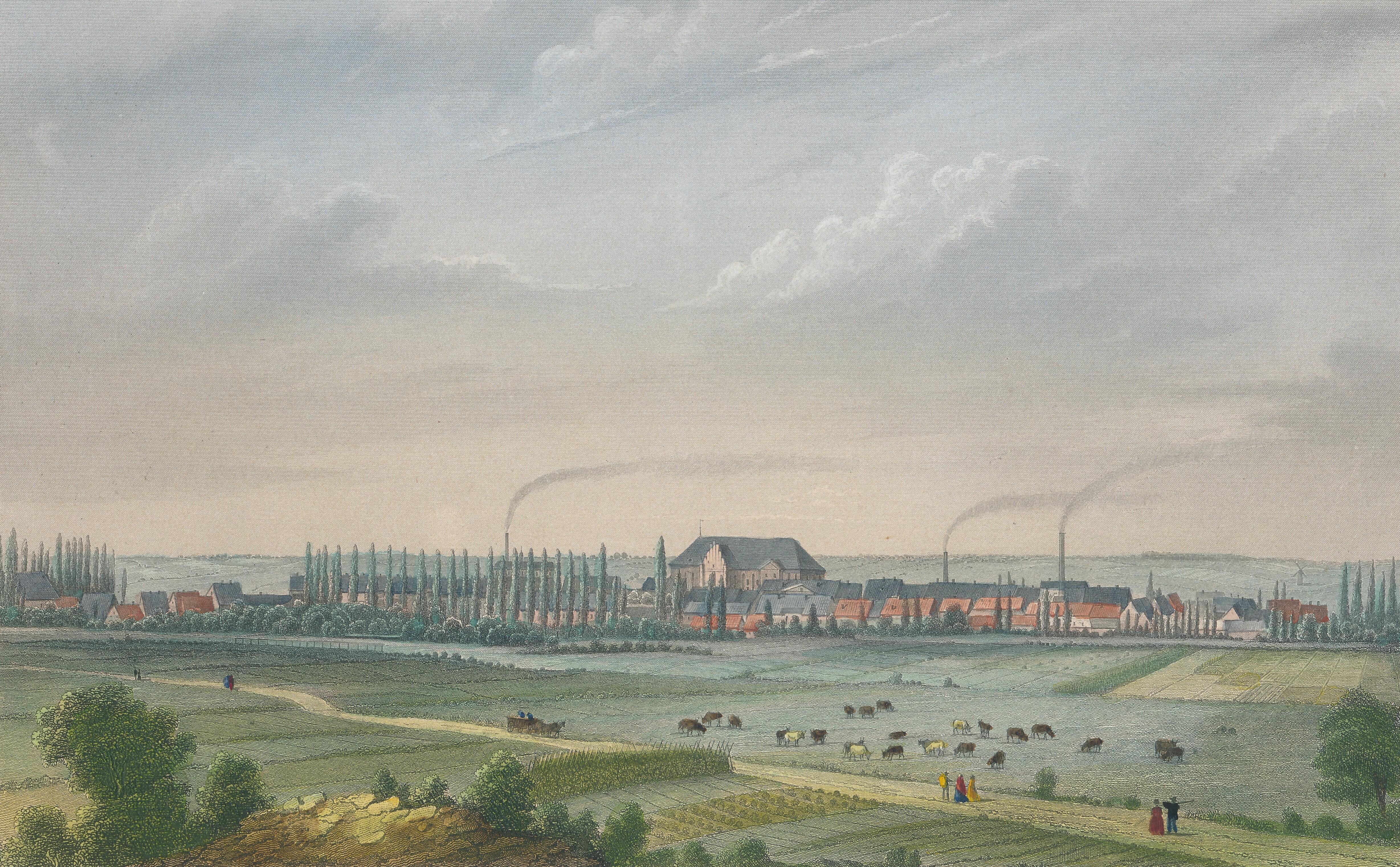Skyline mit Schornsteinen: Der Stich von 1858 zeigt Pritzwalk in der Industrialisierung. Quelle: Museumsfabrik