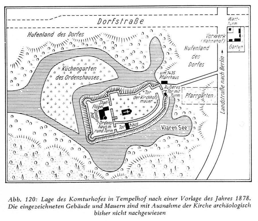 Vermutlicher Aufbau der Komturei Tempelhof (nach einer Zeichnung von 1878)