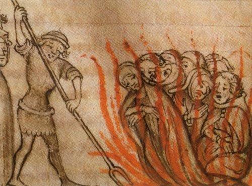 Verbrennung der Templer in Frankreich um 1310 (zeitgenössische Darstellung)