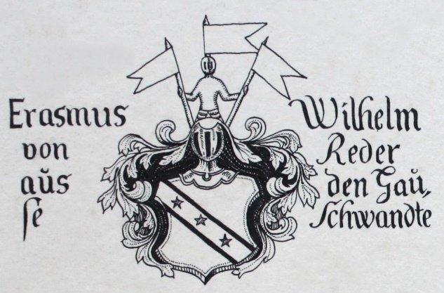 Familienwappen  derer von Redern am Schloss Schwante  (Zeichnung aus dem Litwin-Fotoalbum von 1922)