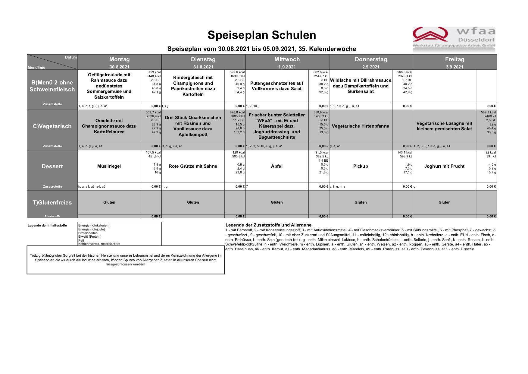 Speiseplan 30. - 05.09.2021 (KW 35)