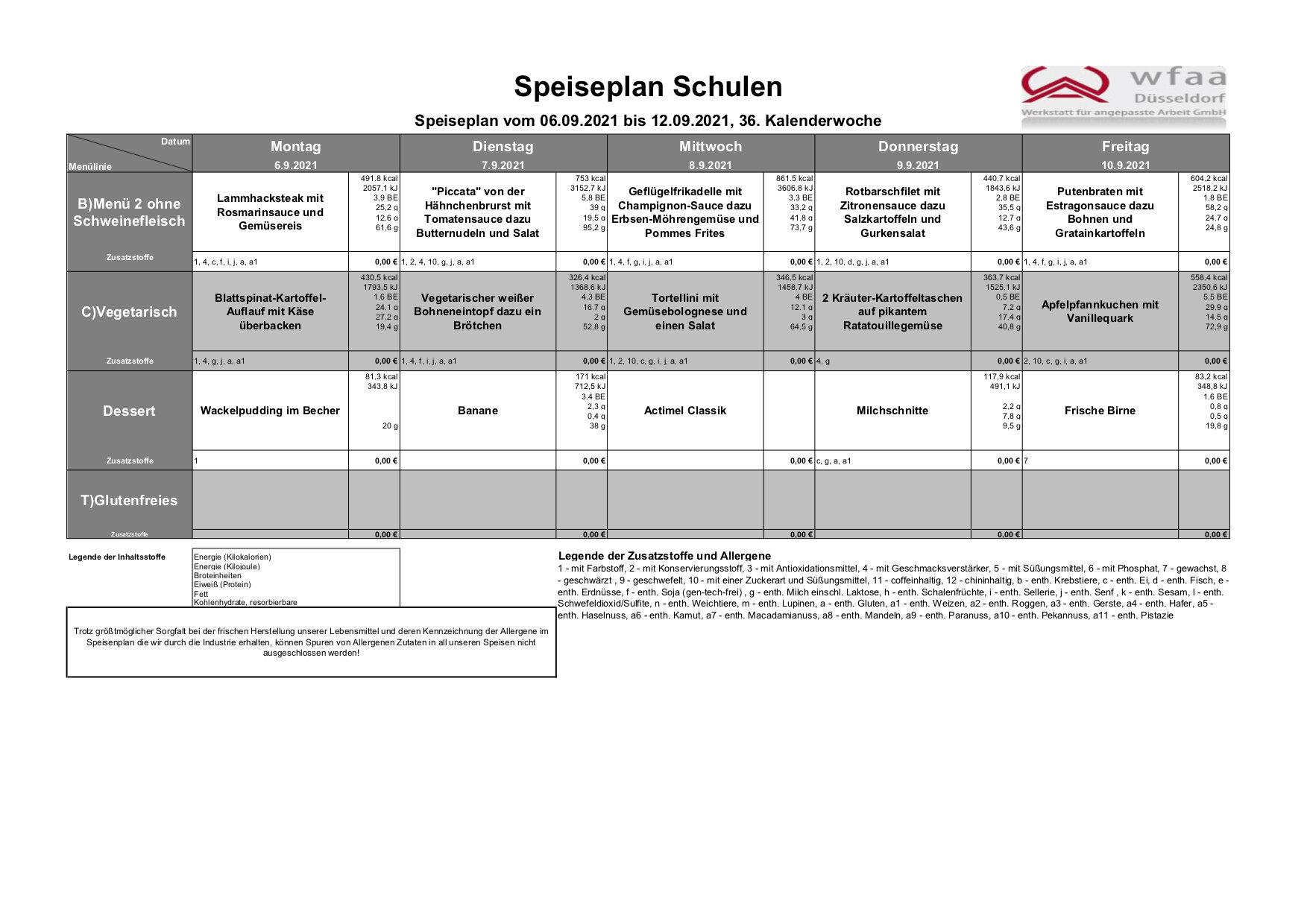 Speiseplan 06. - 12.09.2021 (KW 36)