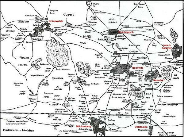 Flurkarte vom Ländchen     Quelle: Kultur- und Heimatverein Lauchhammer e.V.