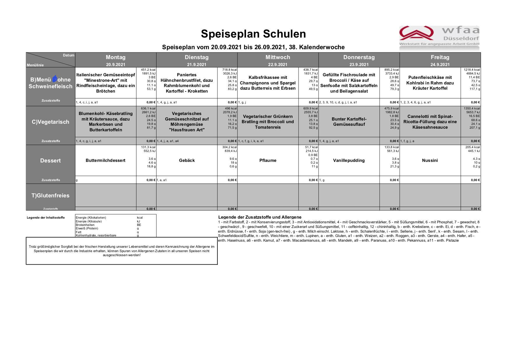 Speiseplan 20. - 26.09.2021 (KW 38)