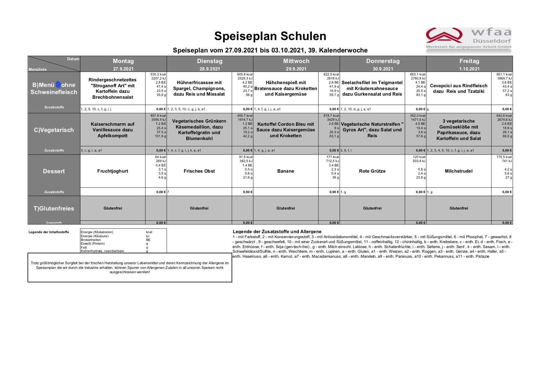 Speiseplan 27.09. - 03.10.2021 (KW 39)