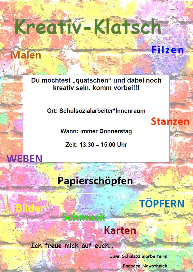 Flyer Kreativklatsch Oberschule Rangsdorf