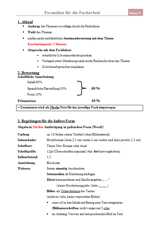 Bild: Oberschule Rangsdorf - Formalien für die Facharbeit - Seite 1