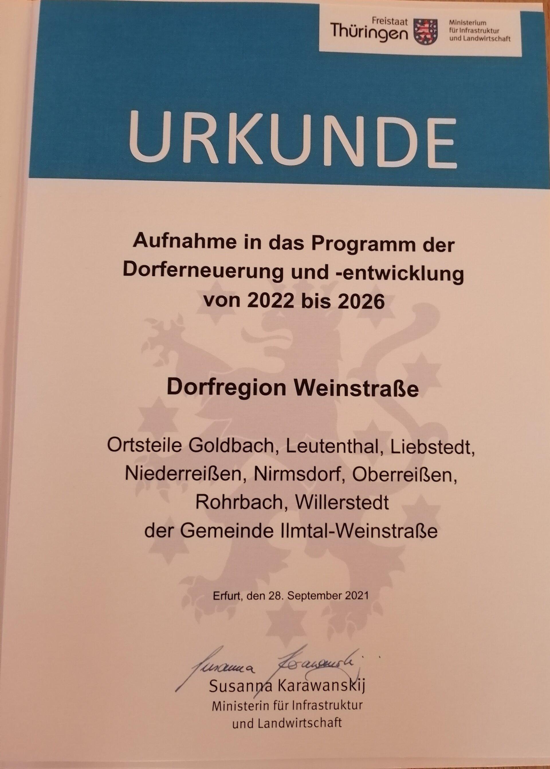 Urkunde -Aufnahme Dorfregion