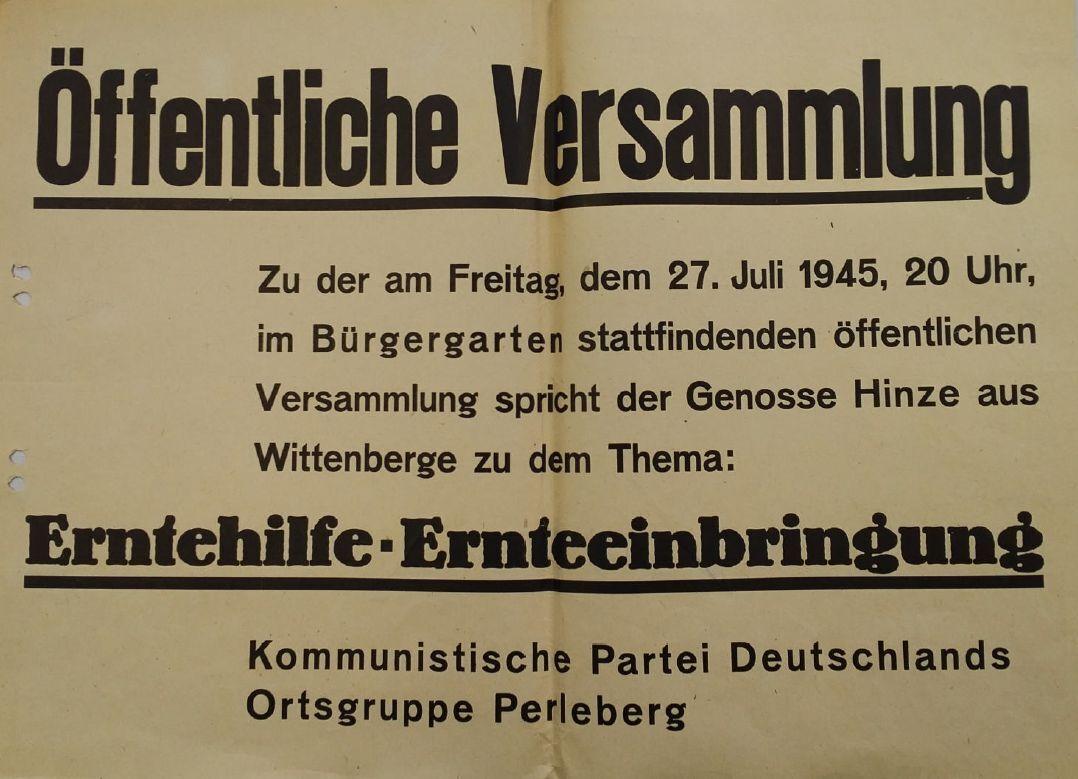 Vortragsankündigung der KPD Perleberg zum Thema Ernte, Juli 1945 | Plakat: Stadtarchiv Perleberg