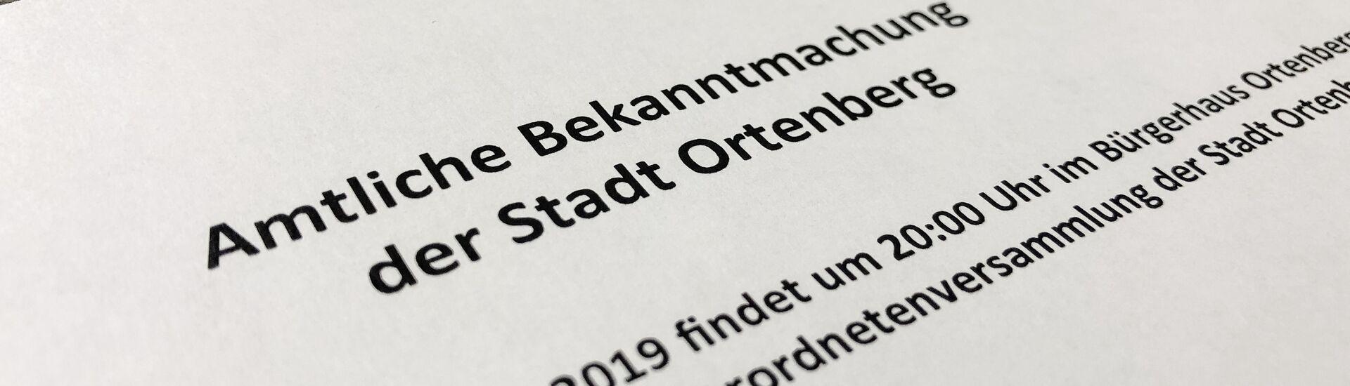 Amtliche Bekanntmachungen der Stadt Ortenberg