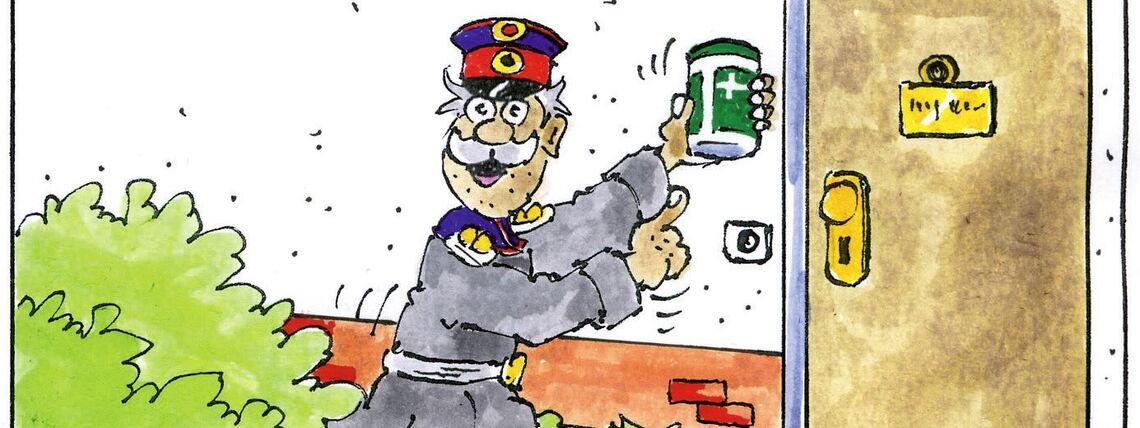 Hauptmann mit Notfalldose