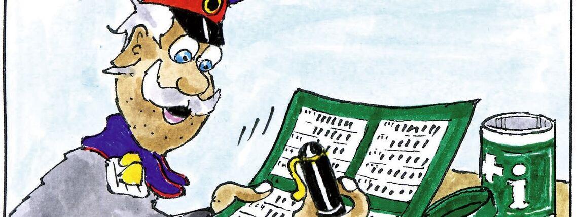 Hauptmann füllt Info-Zettel aus